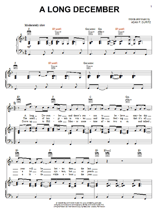 Counting Crows A Long December sheet music notes and chords. Download Printable PDF.
