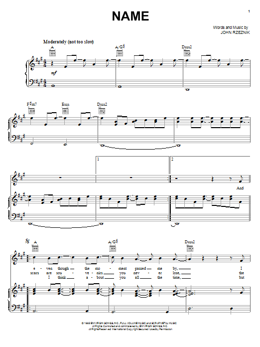 Goo Goo Dolls Name sheet music notes and chords. Download Printable PDF.