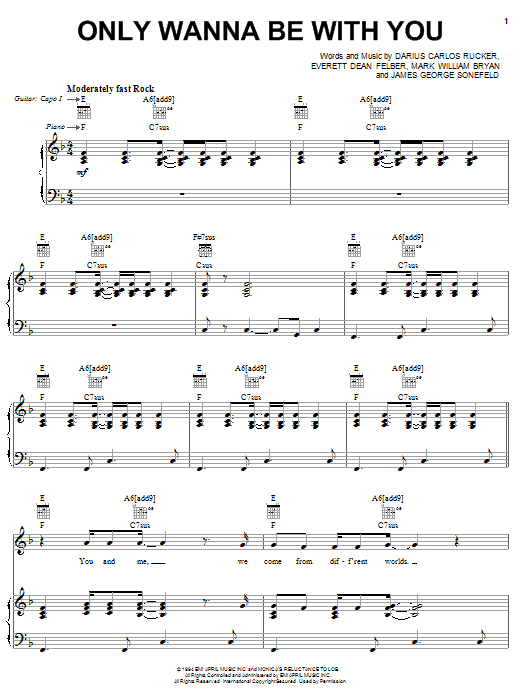 Hootie & The Blowfish Only Wanna Be With You sheet music notes and chords. Download Printable PDF.