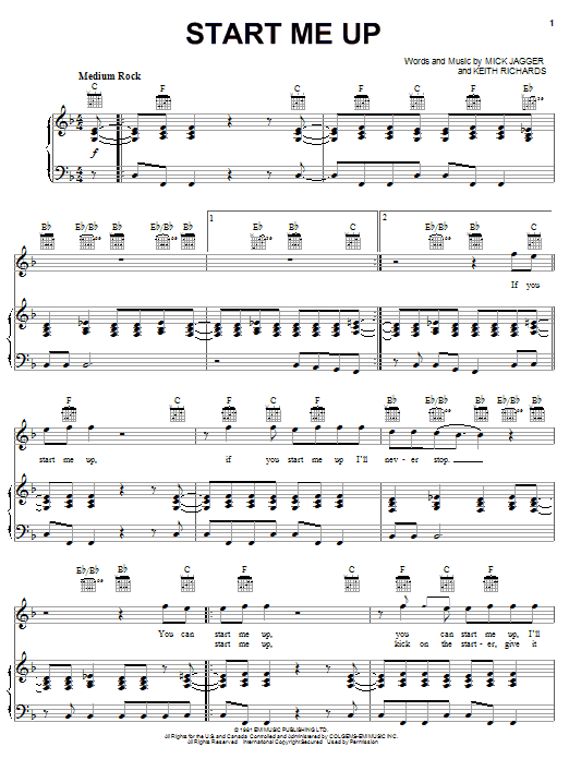 The Rolling Stones Start Me Up sheet music notes and chords. Download Printable PDF.