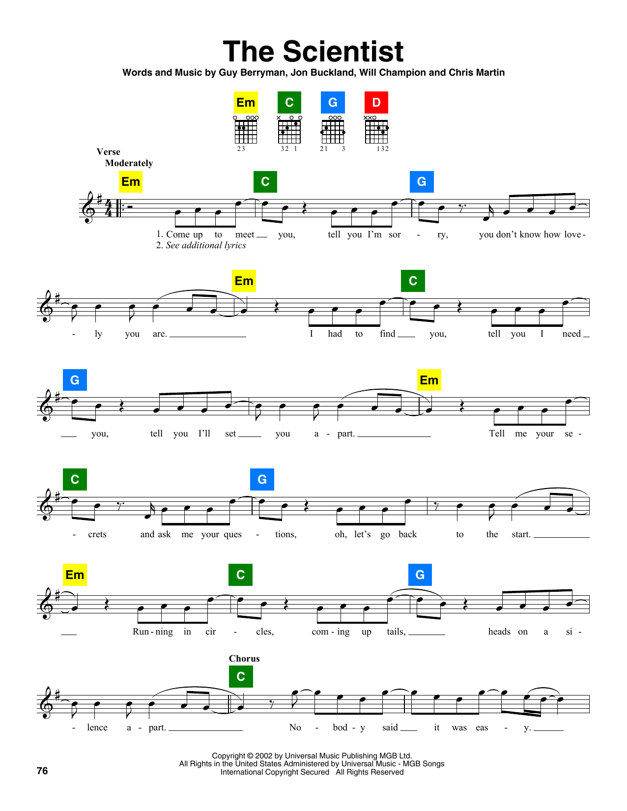 Coldplay The Scientist sheet music notes and chords. Download Printable PDF.