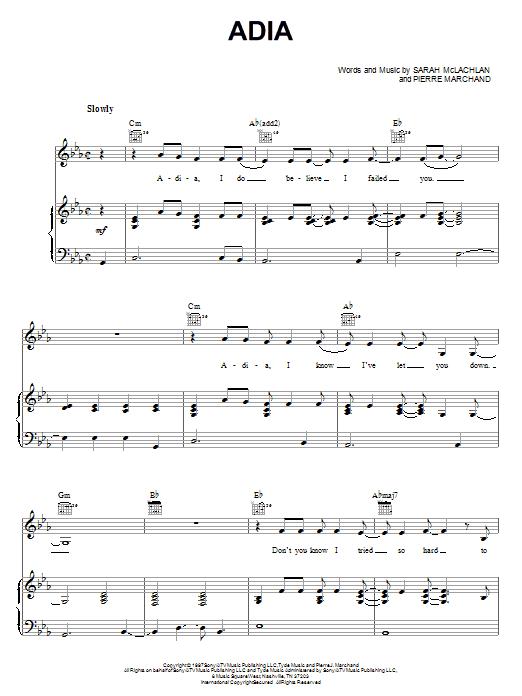 Sarah McLachlan Adia sheet music notes and chords. Download Printable PDF.