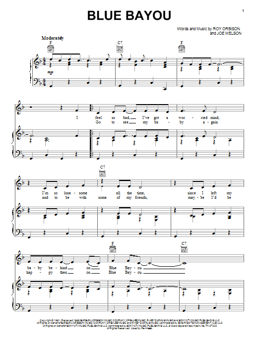 Linda Ronstadt Blue Bayou sheet music notes and chords. Download Printable PDF.