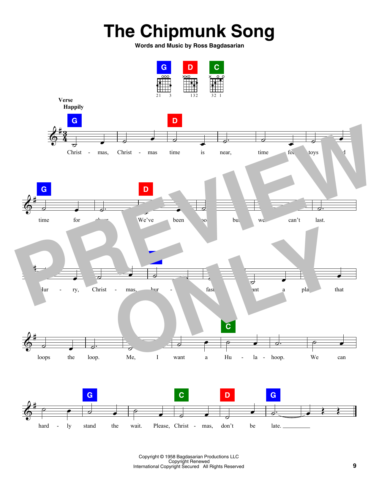 Alvin and the Chipmunks The Chipmunk Song sheet music notes and chords. Download Printable PDF.