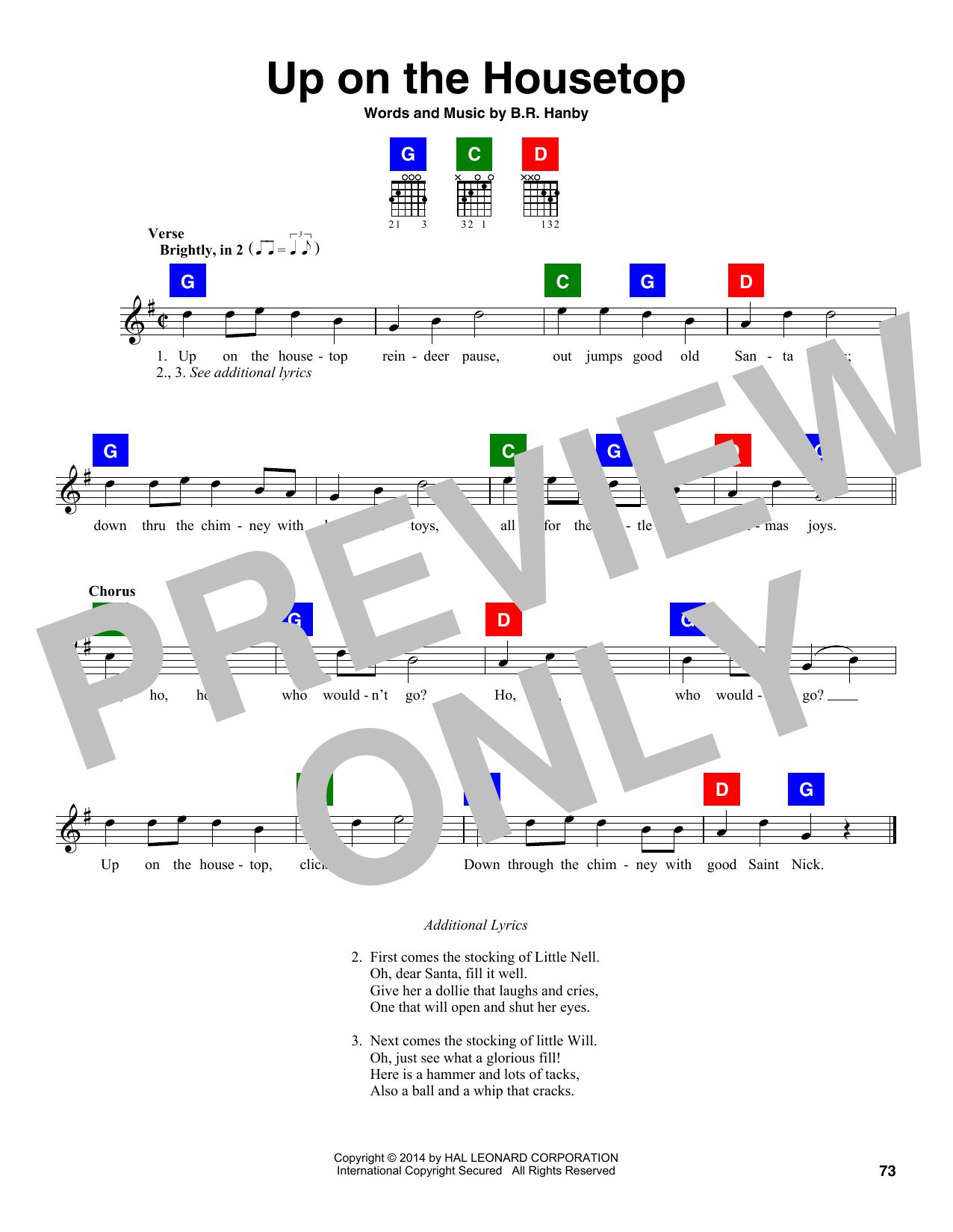 B.R. Hanby Up On The Housetop sheet music notes and chords. Download Printable PDF.