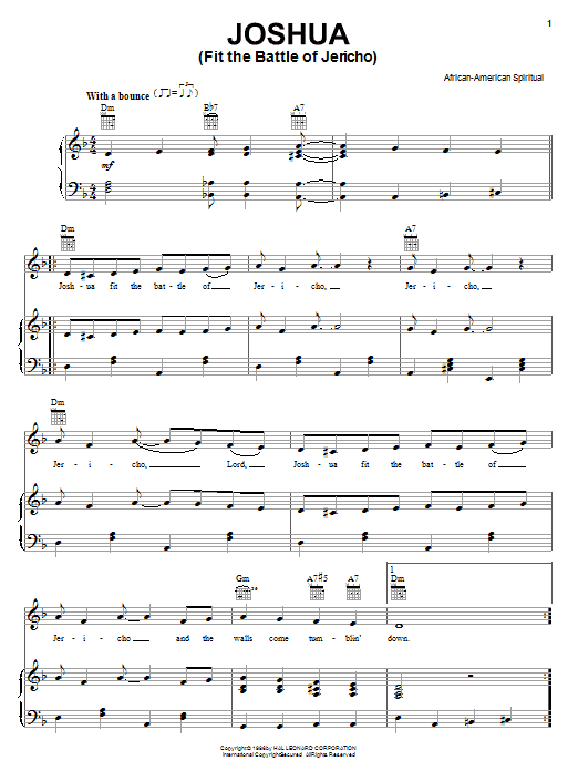 African-American Spiritual Joshua (Fit The Battle Of Jericho) sheet music notes and chords. Download Printable PDF.