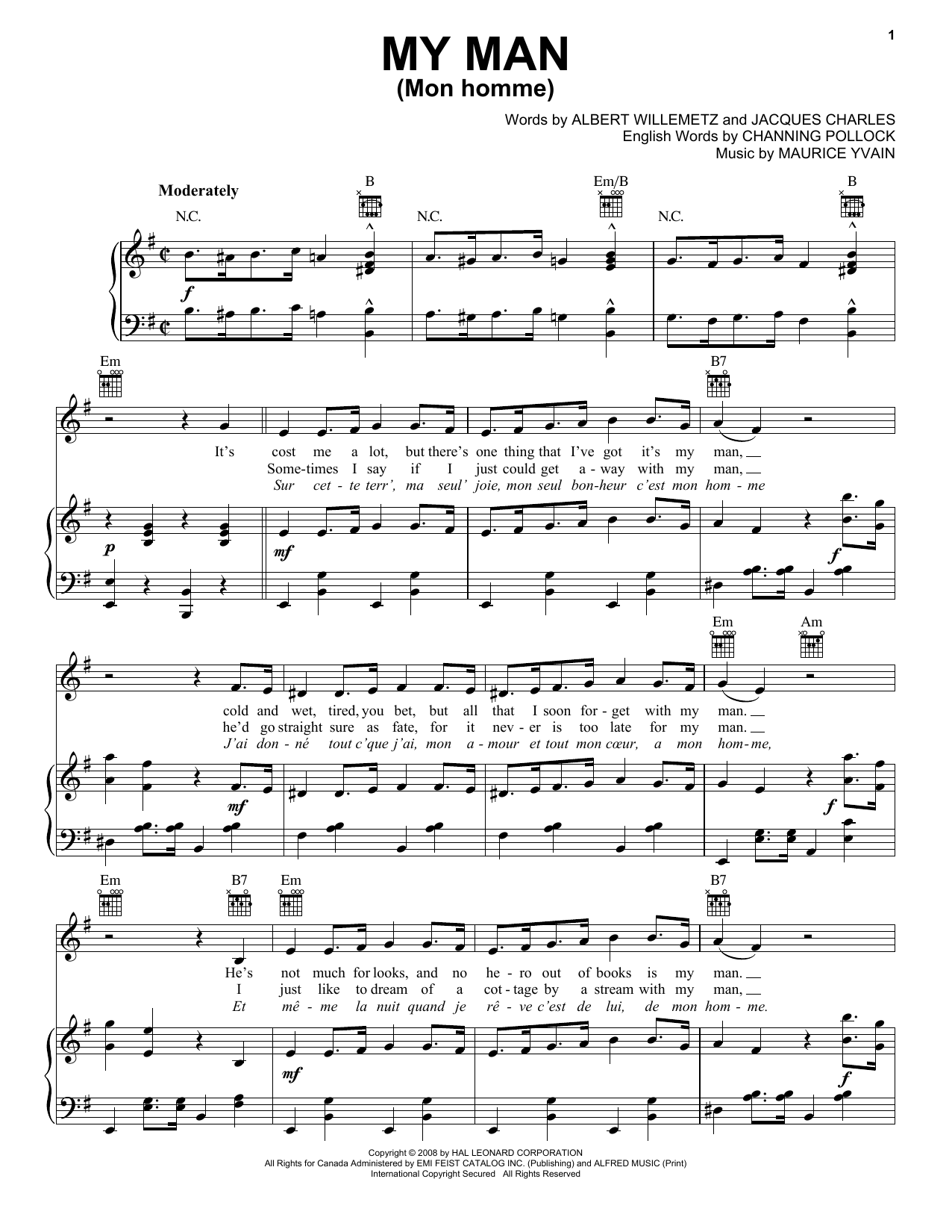 Albert Willemetz My Man (Mon Homme) sheet music notes and chords. Download Printable PDF.