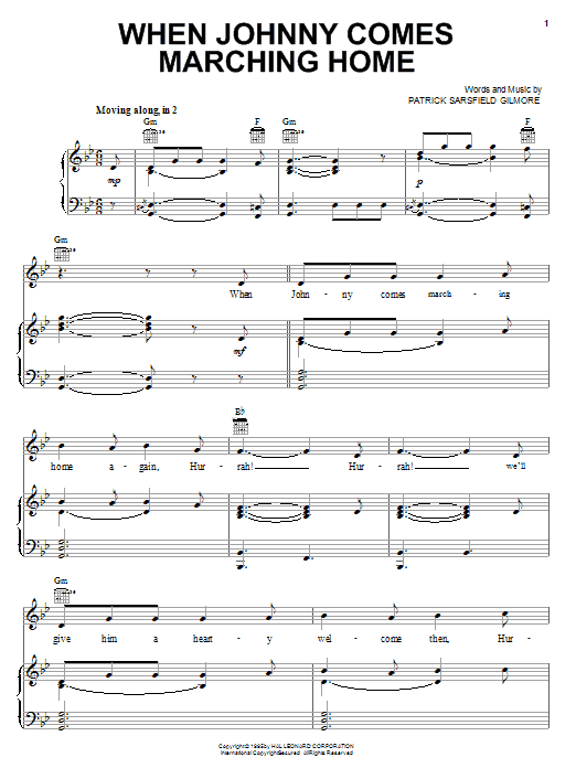 Patrick Sarsfield Gilmore When Johnny Comes Marching Home sheet music notes and chords. Download Printable PDF.