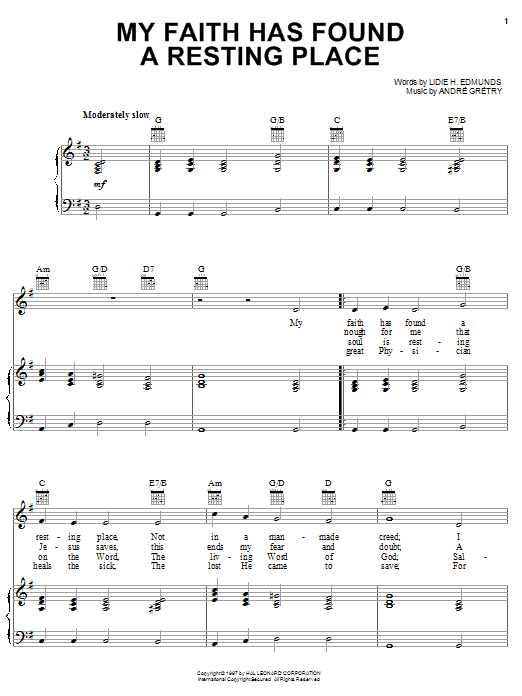 Andre Gretry My Faith Has Found A Resting Place sheet music notes and chords. Download Printable PDF.