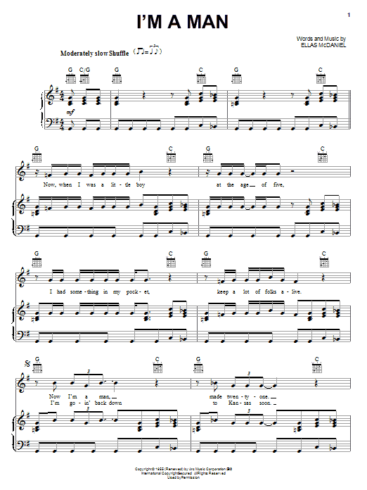Muddy Waters I'm A Man sheet music notes and chords. Download Printable PDF.
