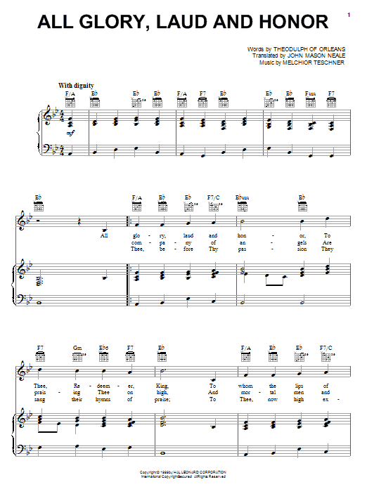 John Mason Neale All Glory, Laud And Honor sheet music notes and chords. Download Printable PDF.