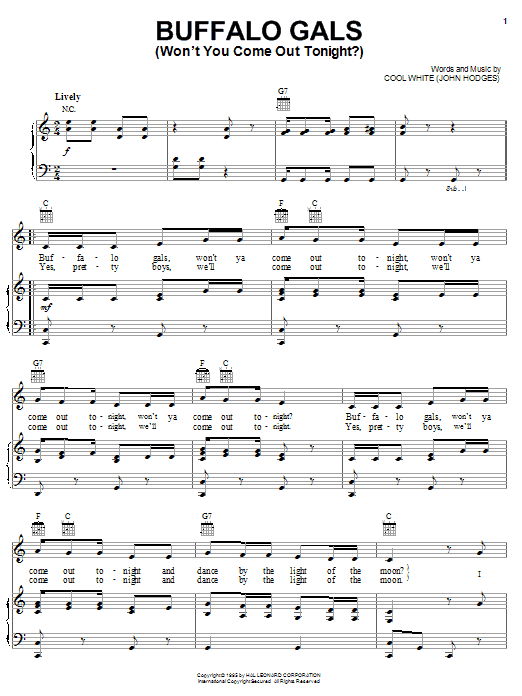 Cool White Buffalo Gals (Won't You Come Out Tonight?) sheet music notes and chords. Download Printable PDF.