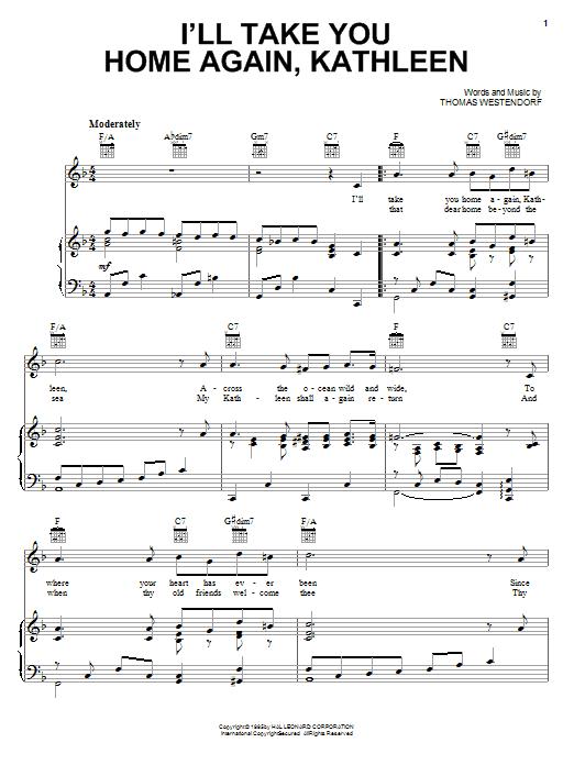 Thomas Westendorf I'll Take You Home Again, Kathleen sheet music notes and chords. Download Printable PDF.