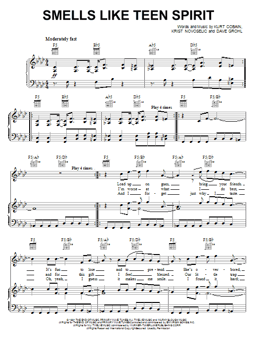 Nirvana Smells Like Teen Spirit sheet music notes and chords. Download Printable PDF.