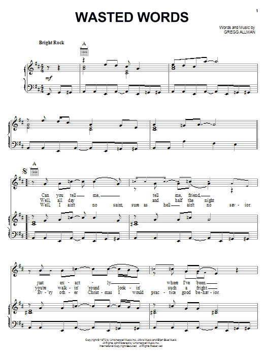 The Allman Brothers Band Wasted Words sheet music notes and chords. Download Printable PDF.