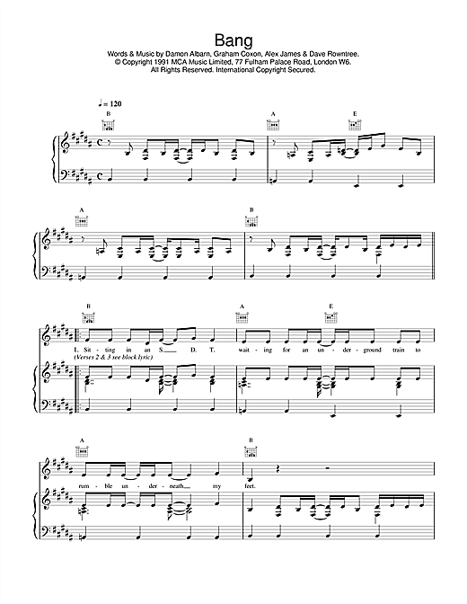 Blur Bang sheet music notes and chords. Download Printable PDF.