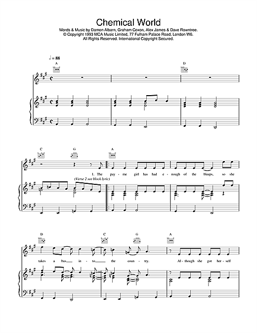 Blur Chemical World sheet music notes and chords. Download Printable PDF.