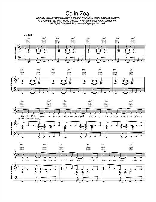 Blur Colin Zeal sheet music notes and chords. Download Printable PDF.