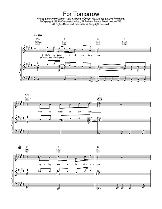 Blur For Tomorrow sheet music notes and chords. Download Printable PDF.