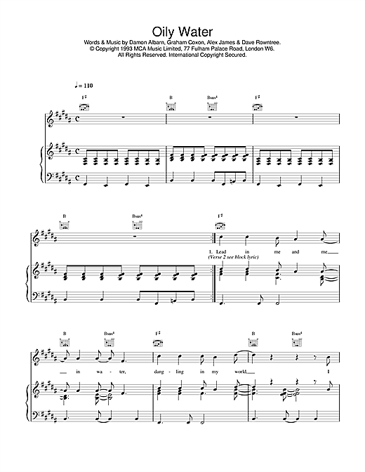 Blur Oily Water sheet music notes and chords. Download Printable PDF.