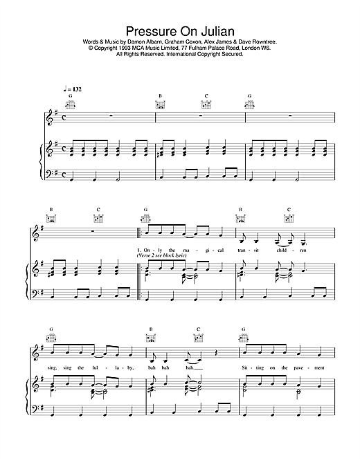 Blur Pressure On Julian sheet music notes and chords. Download Printable PDF.