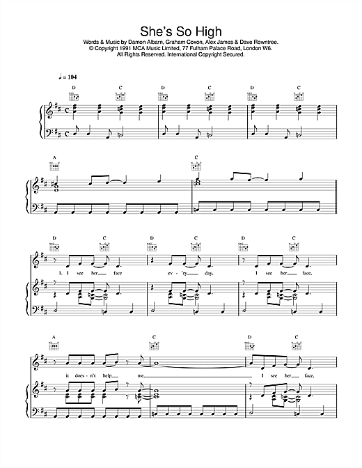 Blur She's So High sheet music notes and chords. Download Printable PDF.