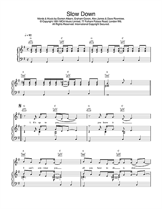 Blur Slow Down sheet music notes and chords. Download Printable PDF.