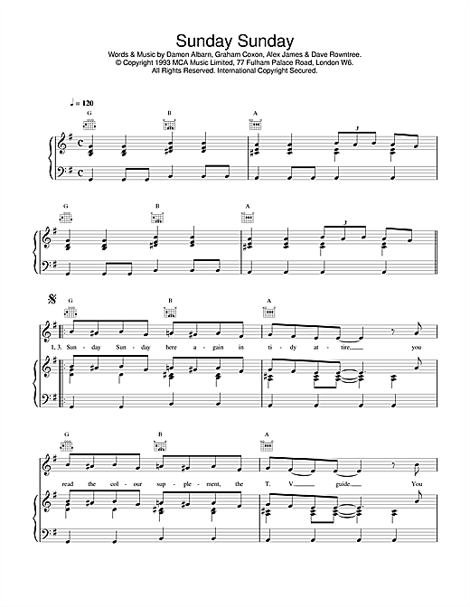 Blur Sunday Sunday sheet music notes and chords. Download Printable PDF.