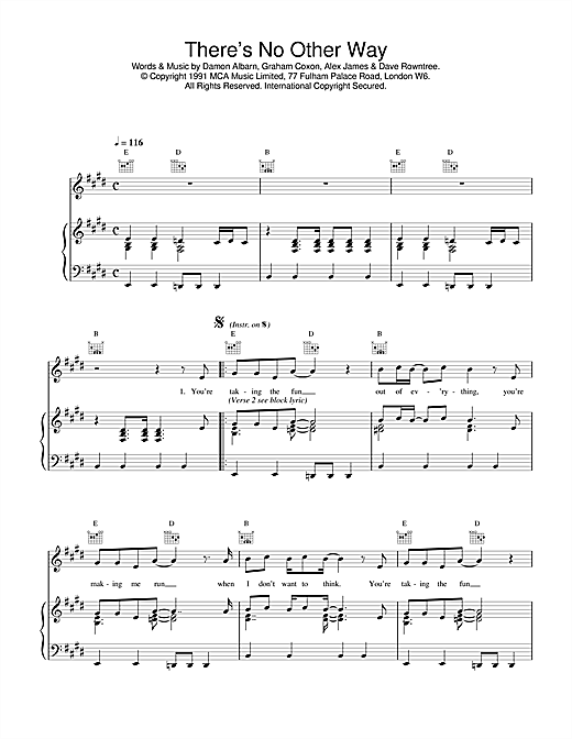 Blur There's No Other Way sheet music notes and chords. Download Printable PDF.