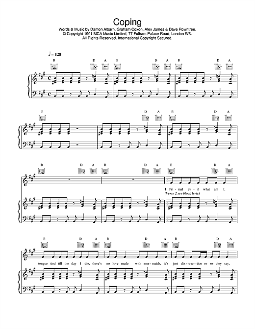Blur Coping sheet music notes and chords. Download Printable PDF.