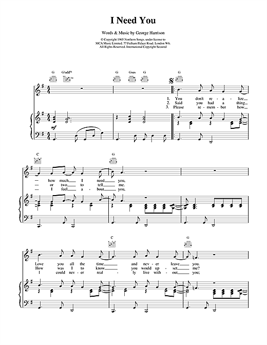 The Beatles I Need You sheet music notes and chords. Download Printable PDF.