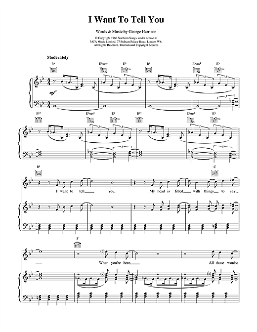 The Beatles I Want To Tell You sheet music notes and chords. Download Printable PDF.
