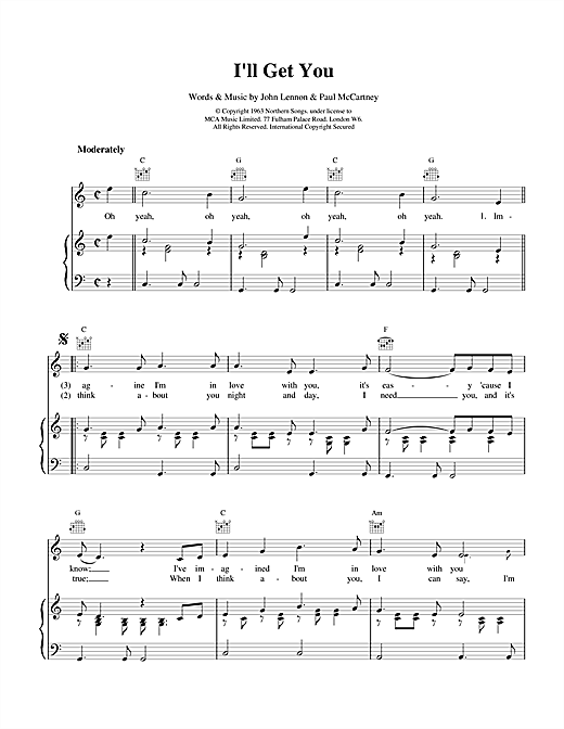 The Beatles I'll Get You sheet music notes and chords. Download Printable PDF.
