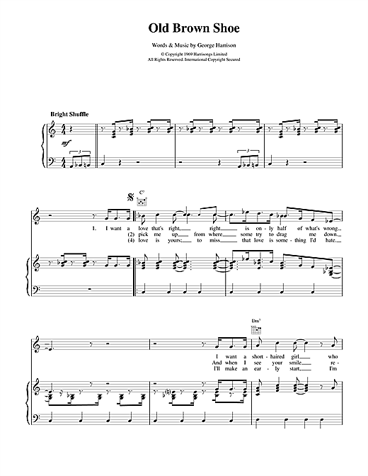 The Beatles Old Brown Shoe sheet music notes and chords. Download Printable PDF.
