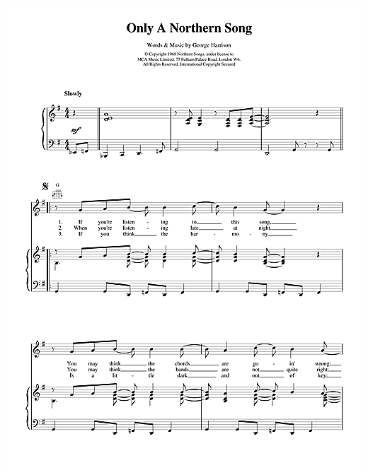 The Beatles Only A Northern Song sheet music notes and chords. Download Printable PDF.