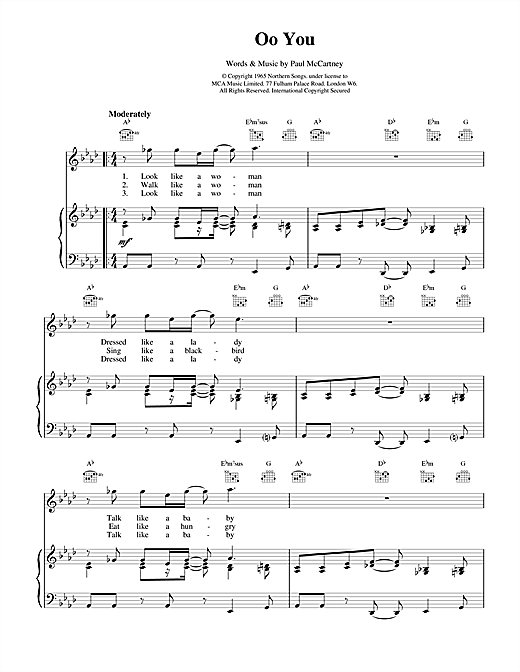 The Beatles Oo You sheet music notes and chords. Download Printable PDF.