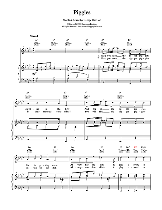 The Beatles Piggies sheet music notes and chords. Download Printable PDF.