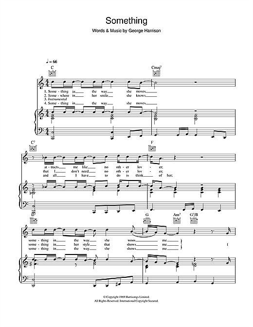 The Beatles Something sheet music notes and chords. Download Printable PDF.