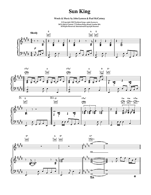The Beatles Sun King sheet music notes and chords. Download Printable PDF.