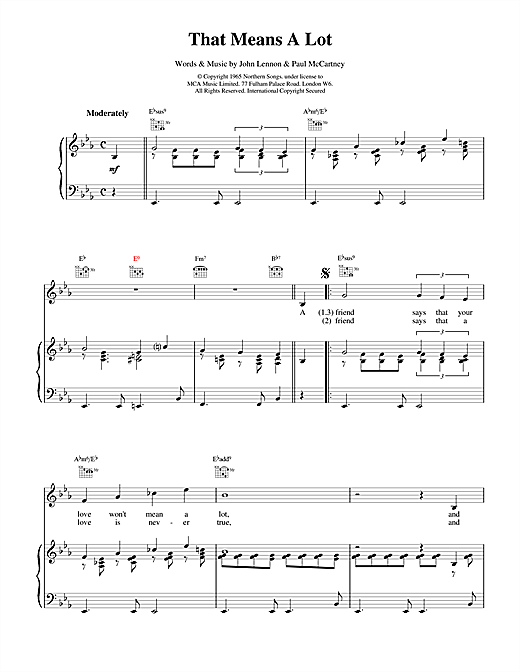 The Beatles That Means A Lot sheet music notes and chords. Download Printable PDF.