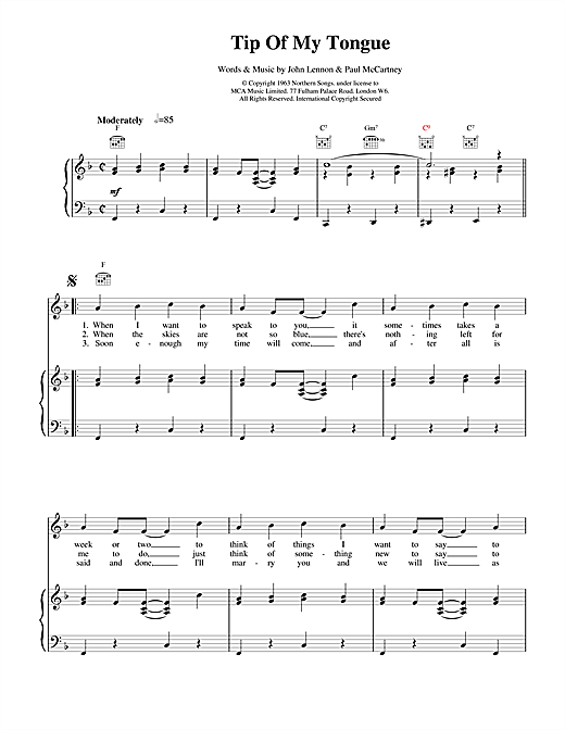 The Beatles Tip Of My Tongue sheet music notes and chords. Download Printable PDF.