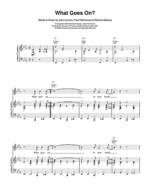 The Beatles What Goes On? sheet music notes and chords. Download Printable PDF.