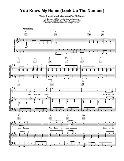 The Beatles You Know My Name (Look Up The Number) sheet music notes and chords. Download Printable PDF.