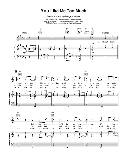 The Beatles You Like Me Too Much sheet music notes and chords. Download Printable PDF.
