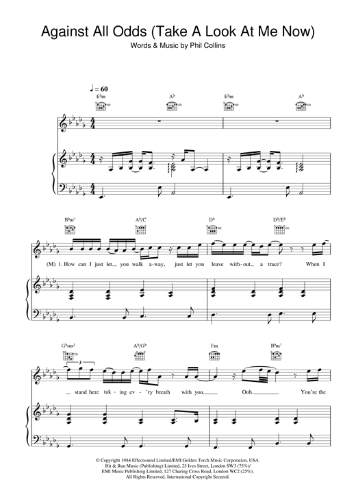 Mariah Carey and Westlife Against All Odds (Take A Look At Me Now) sheet music notes and chords. Download Printable PDF.