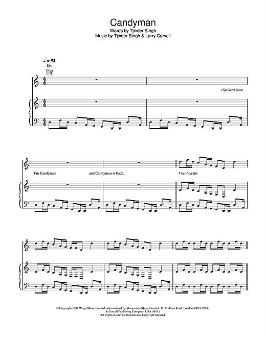 Cornershop Candyman sheet music notes and chords. Download Printable PDF.