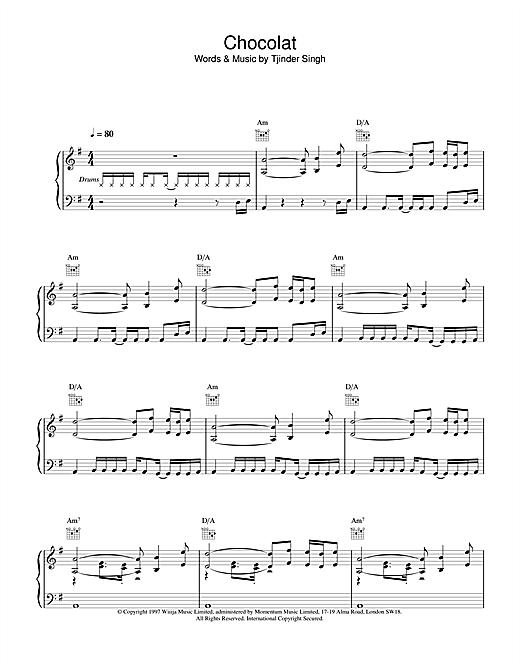 Cornershop Chocolat sheet music notes and chords. Download Printable PDF.