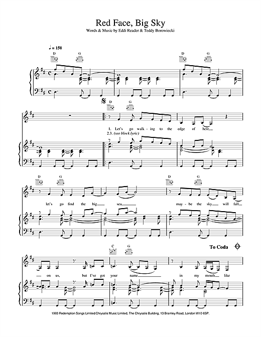 Eddi Reader Red Face, Big Sky sheet music notes and chords. Download Printable PDF.