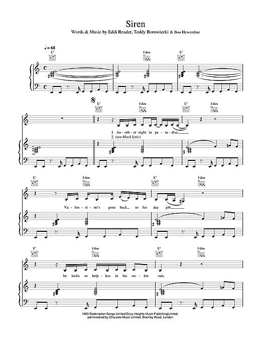 Eddi Reader Siren sheet music notes and chords. Download Printable PDF.
