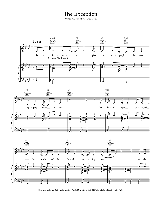 Eddi Reader The Exception sheet music notes and chords. Download Printable PDF.